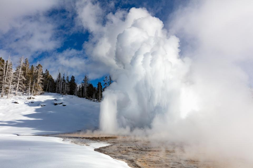 Old Faithful Geyser Eruption in Yellowstone National Park