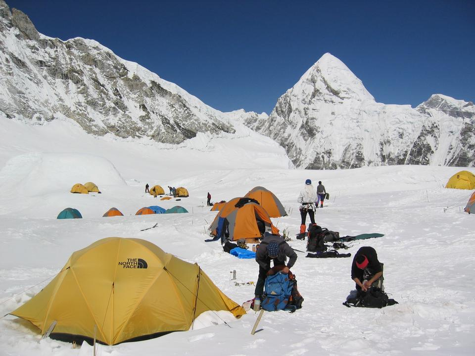 Camping of climbers above clouds in the Himalayas, Nepal, Everest