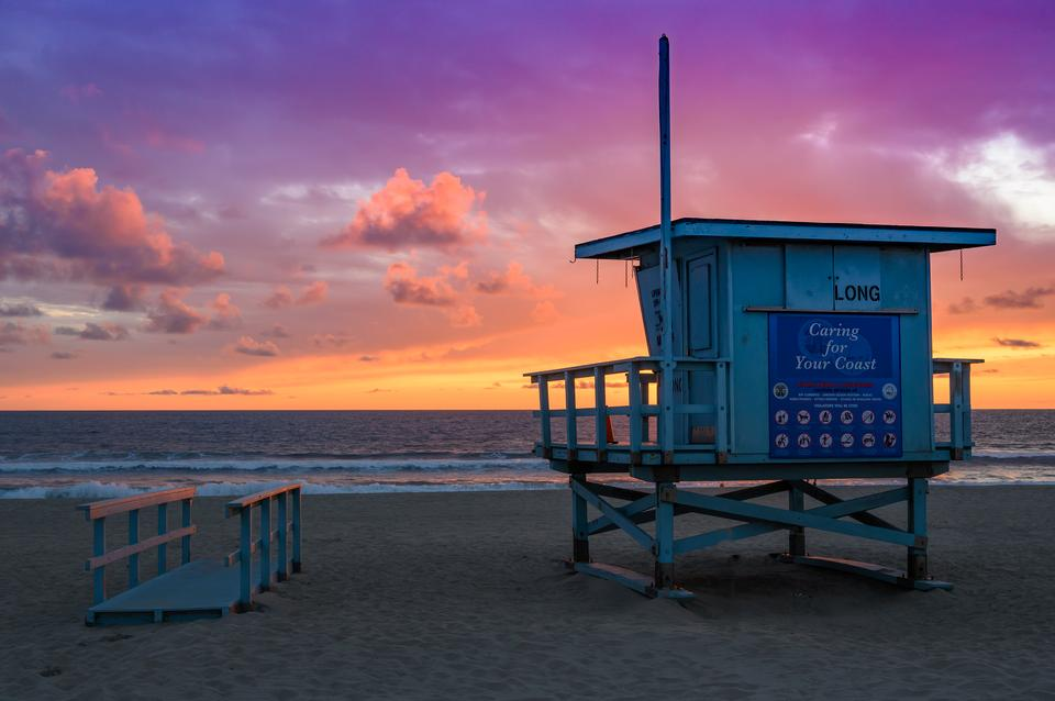 beach sunset with life guard tower