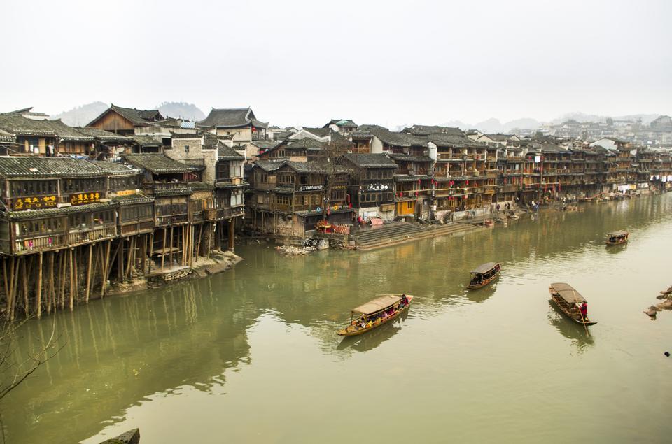 中国湖南省古老边境小镇