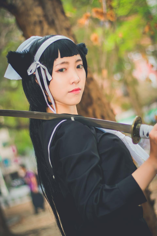 Porträt von Japan Anime Cosplay Frau