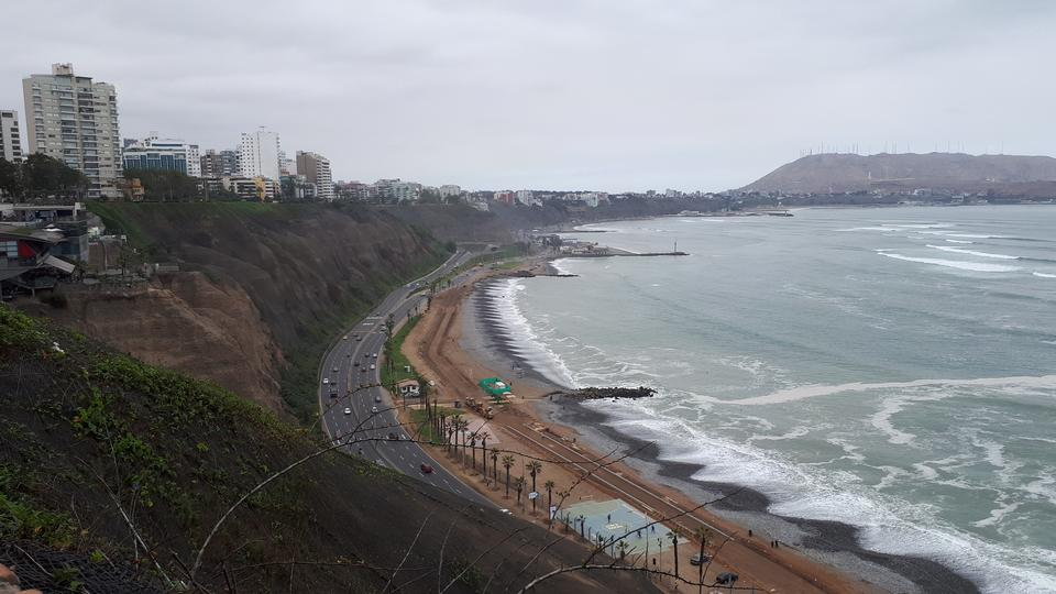 Lima Peru Aerial view of Miraflores town, cliff