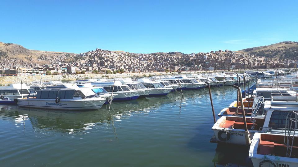Uros island in Lake Titicaca, Peru