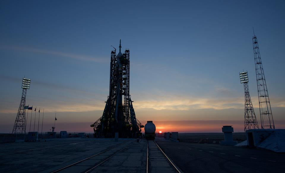 The Soyuz rocket is seen at dawn on launch s