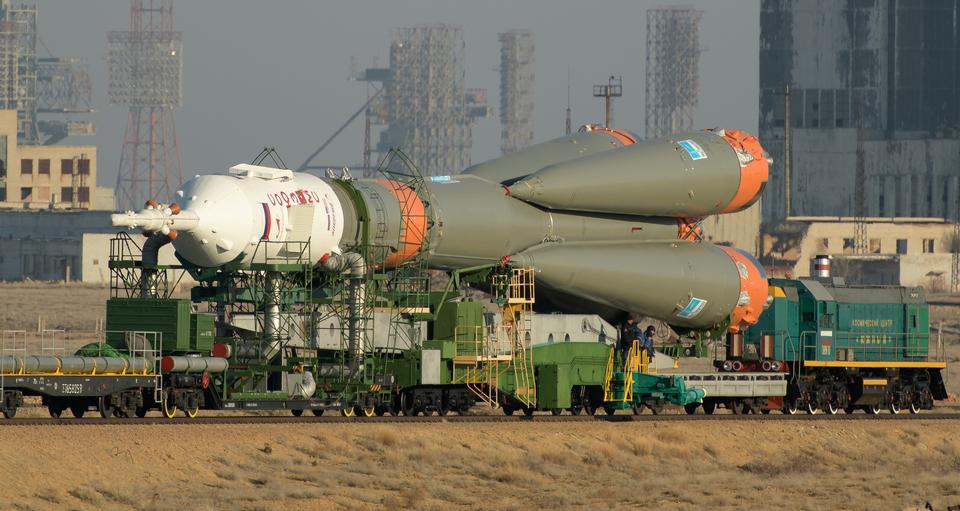 The Soyuz rocket is transported by train to the launch pad