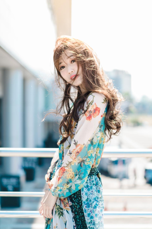 美麗的亞裔中國深色的婦女畫象