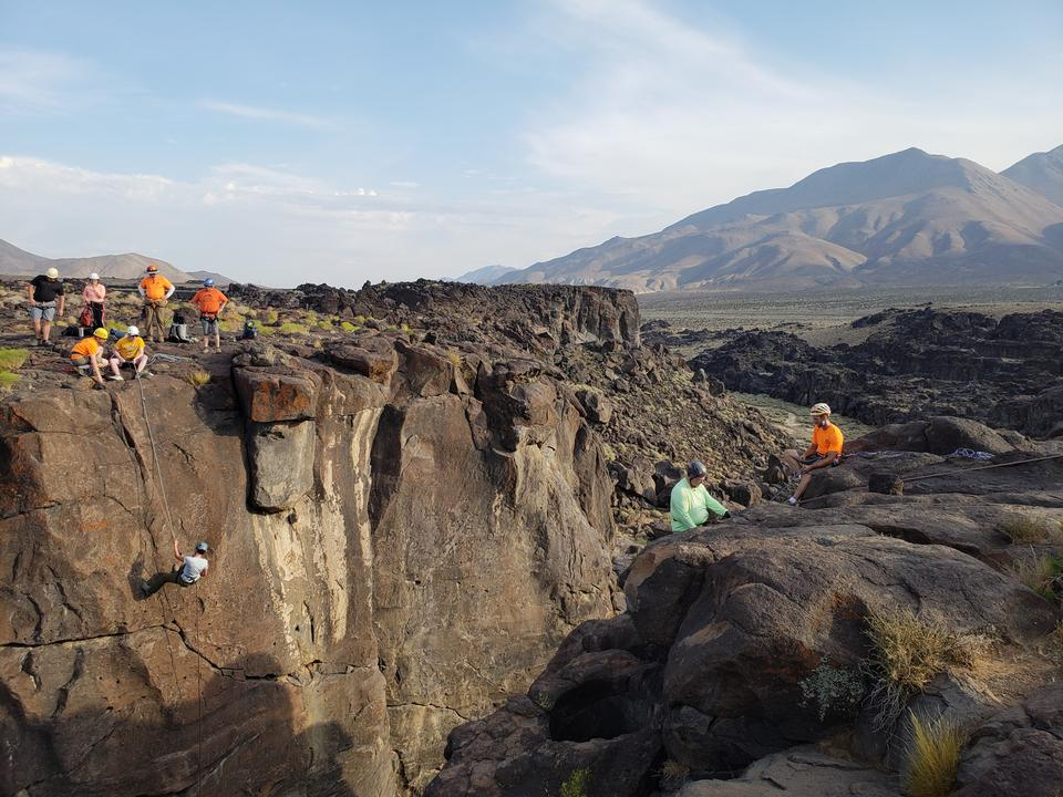 Rappelling at Fossil Falls in the Ridgecrest Field