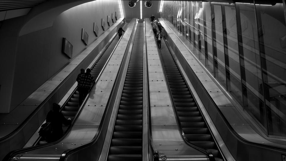 modern escalator in subway station