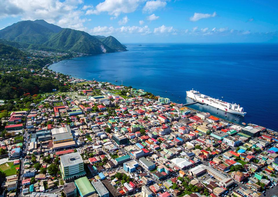 Caribbean city Roseau on the island of Dominica