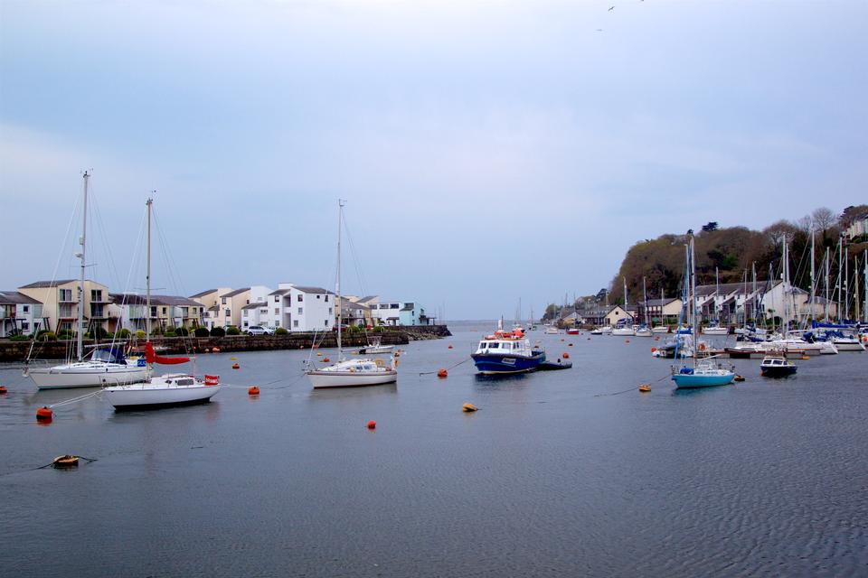 Porthmadog harbour with moored boats