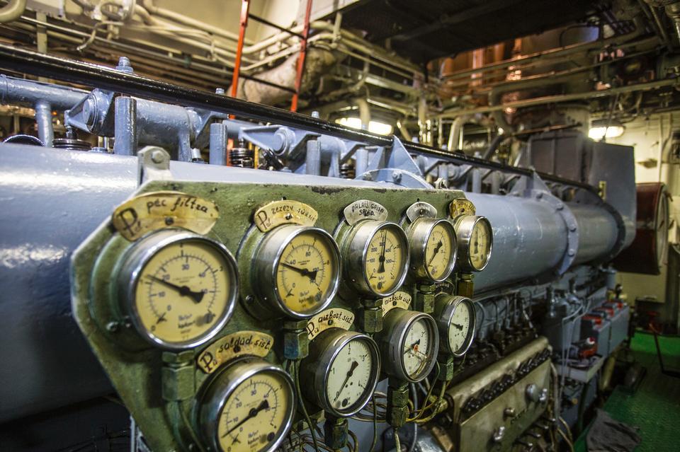 The engine room on the bulk cargo big ship