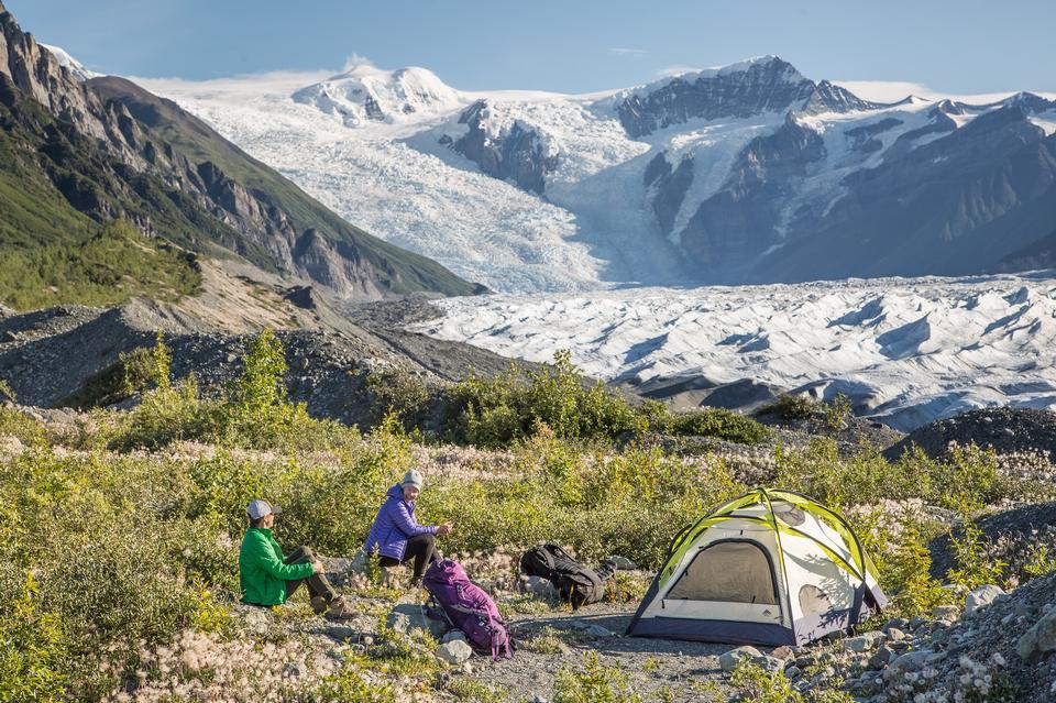 ルート氷河沿いのキャンプ