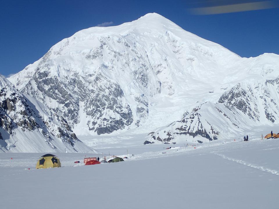 Base camp with Mount Foraker in Denali National Park