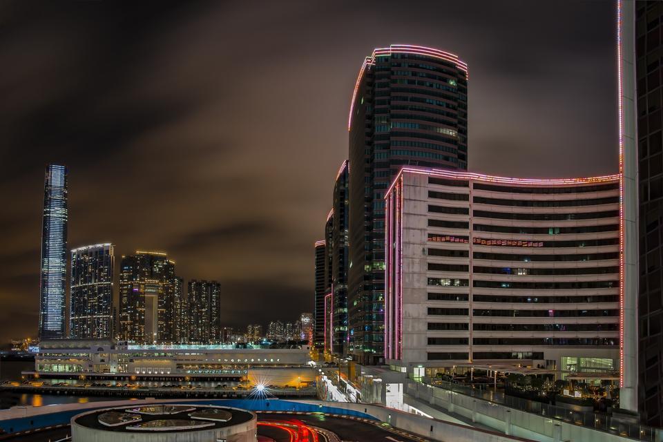 Hong Kong city view from The Peak at twilight