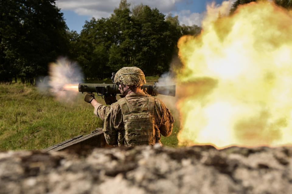 Airborne Brigade engaged targets with the Carl Gustaf 84mm weapon