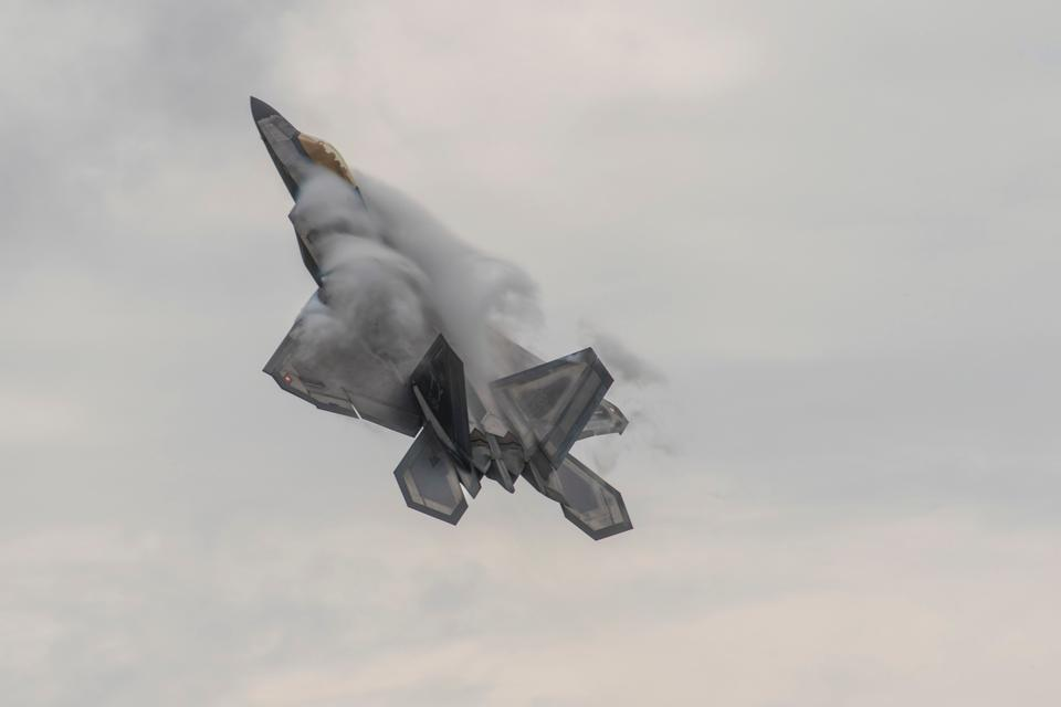 A U.S. Air Force F-22 Raptor with the Air Combat