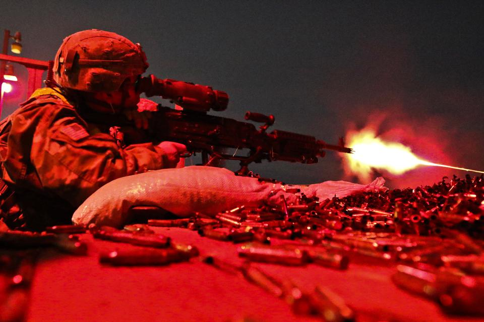 U.S soldier fires an M240B machine gun