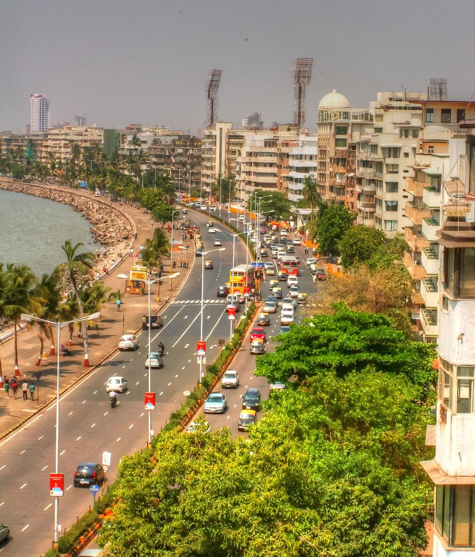 Aerial view of Marine Drive in Mumbai, India