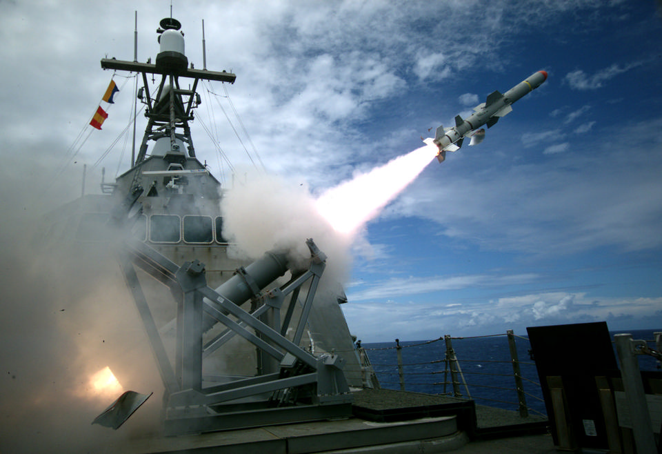 The littoral combat ship launches the Harpoon missile