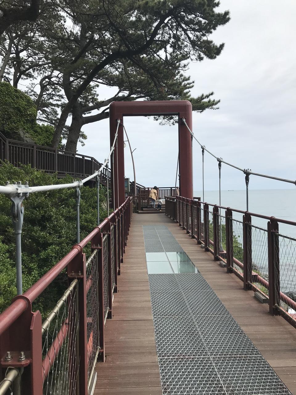 在韩国釜山的海云台Dongbaekseom