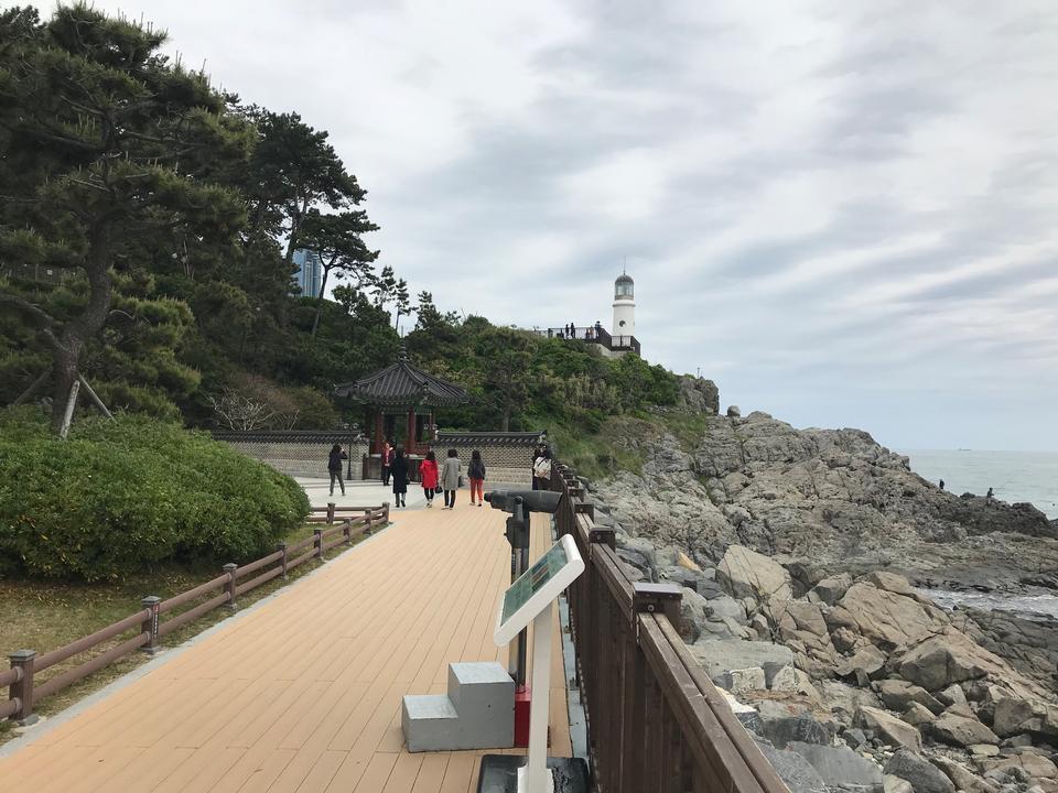 在韓國釜山的海雲台Dongbaekseom