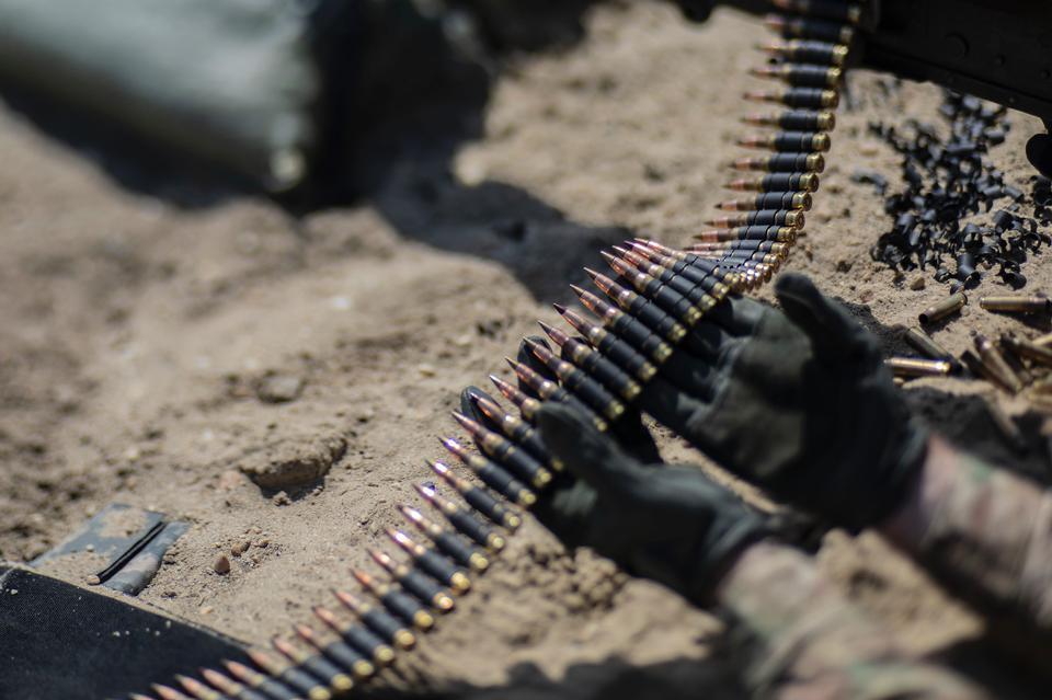 Machine-gun belt with cartridges