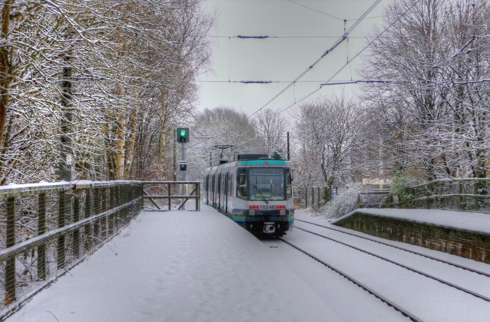 snow covered tram tracks