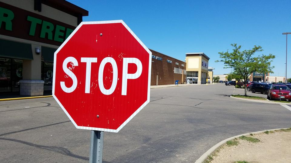 Stop sign at a junction