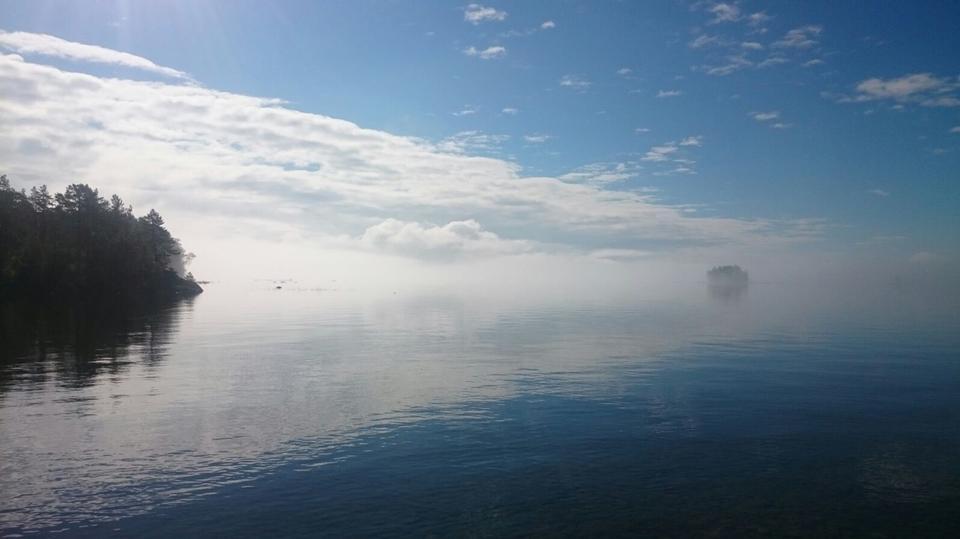 lago, mañana, isla