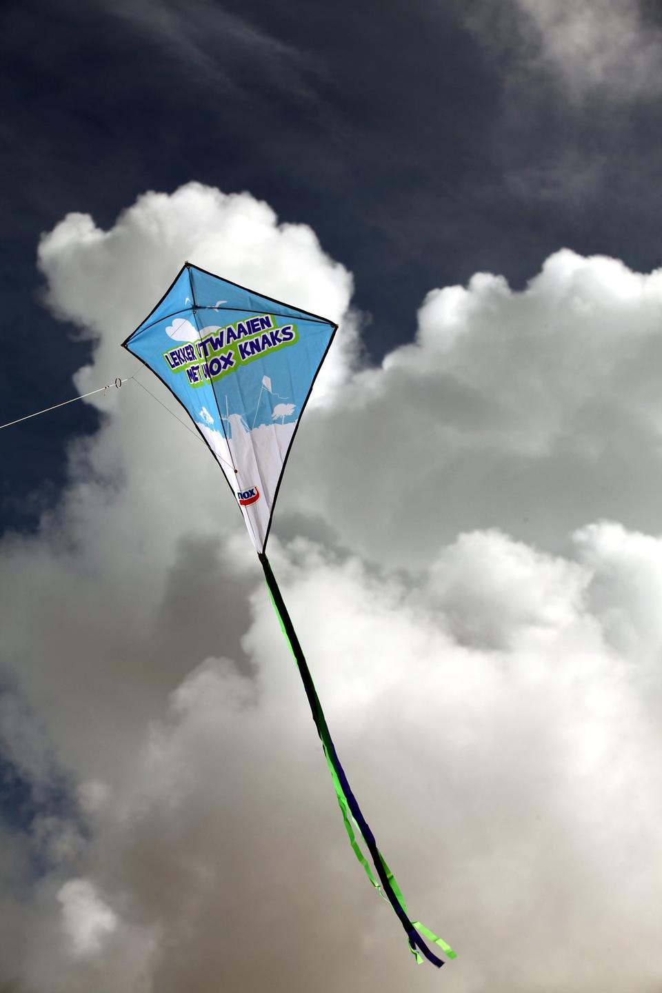 A blue kite flying against a blue sky