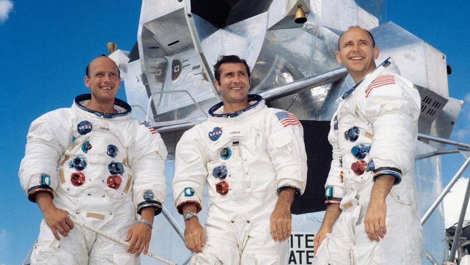 The crew of the Apollo 12 lunar landing mission