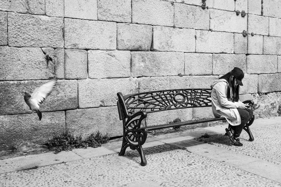 Alleinstehende Frau, die auf Parkbank sitzt