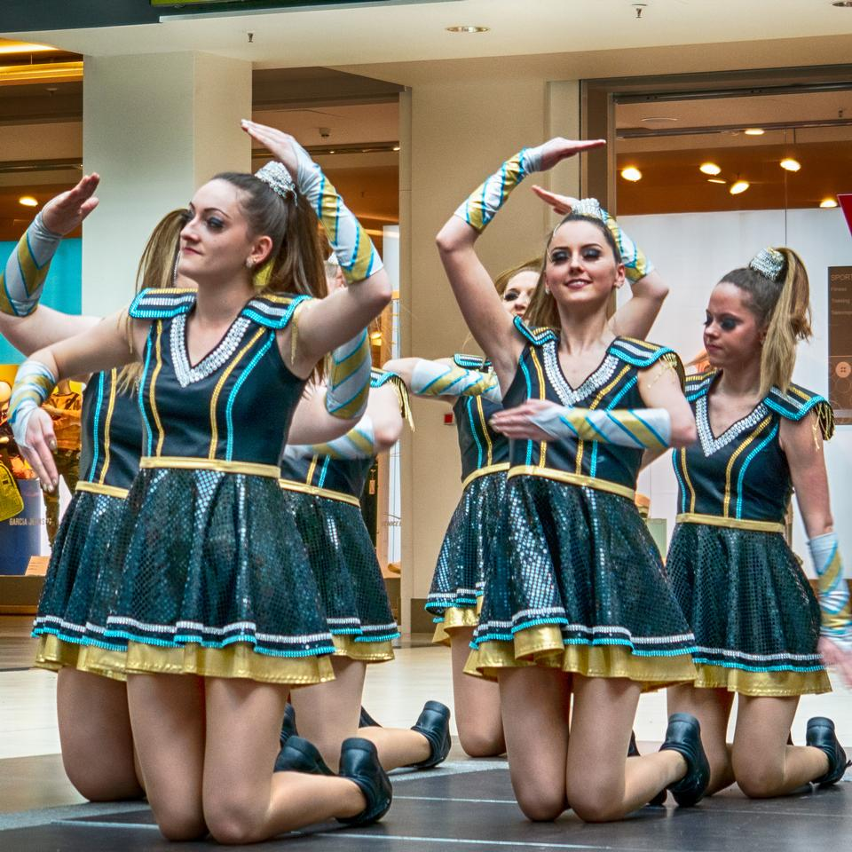 Group of cheerleaders in action