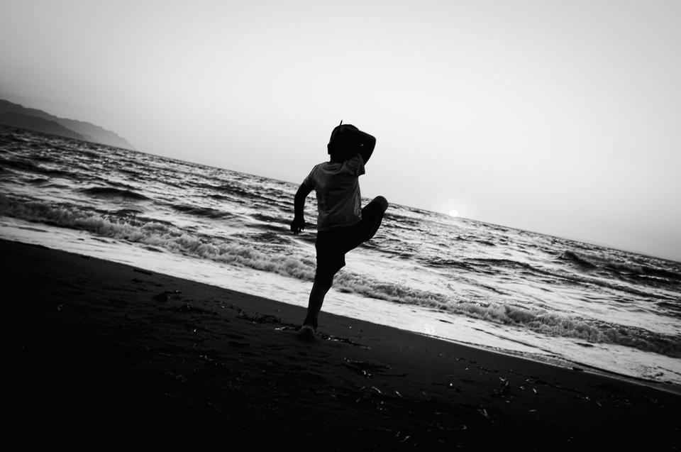 sunset beach child
