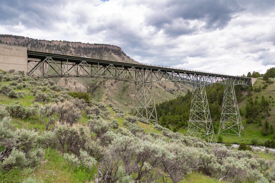 加德纳河桥梁在黄石国家公园