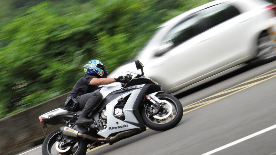 Biker riding motorcycle