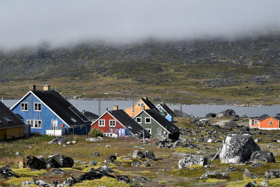 Colorful buildings in Nanortalik city in South Greenland