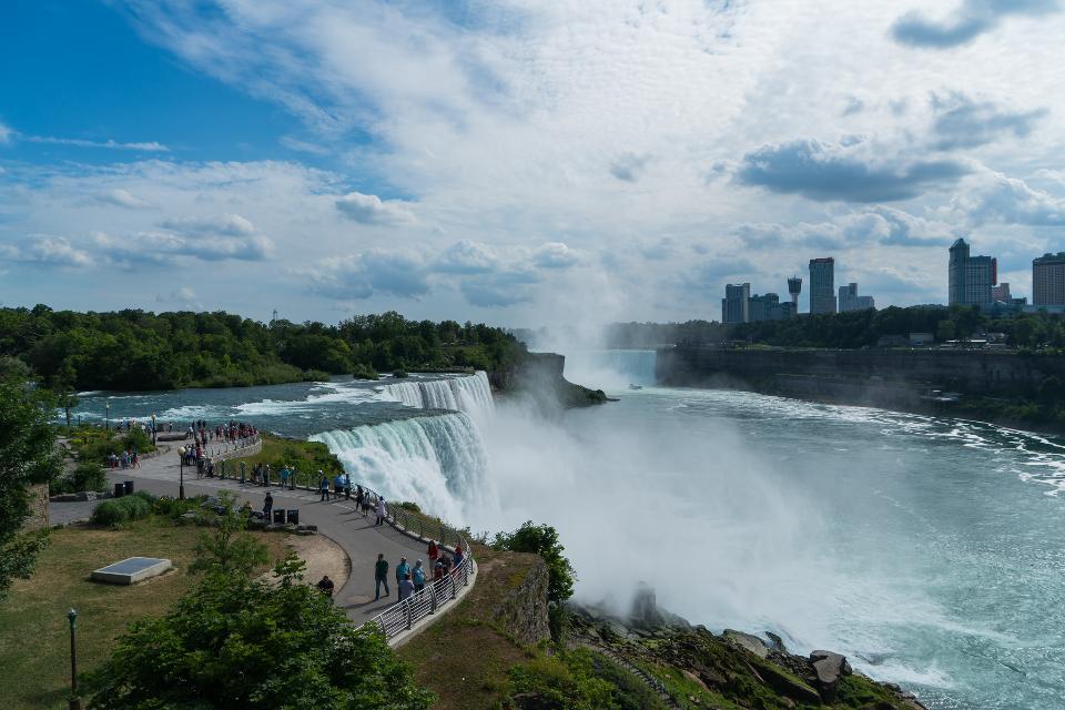 Niagara falls in the summer during beautiful day