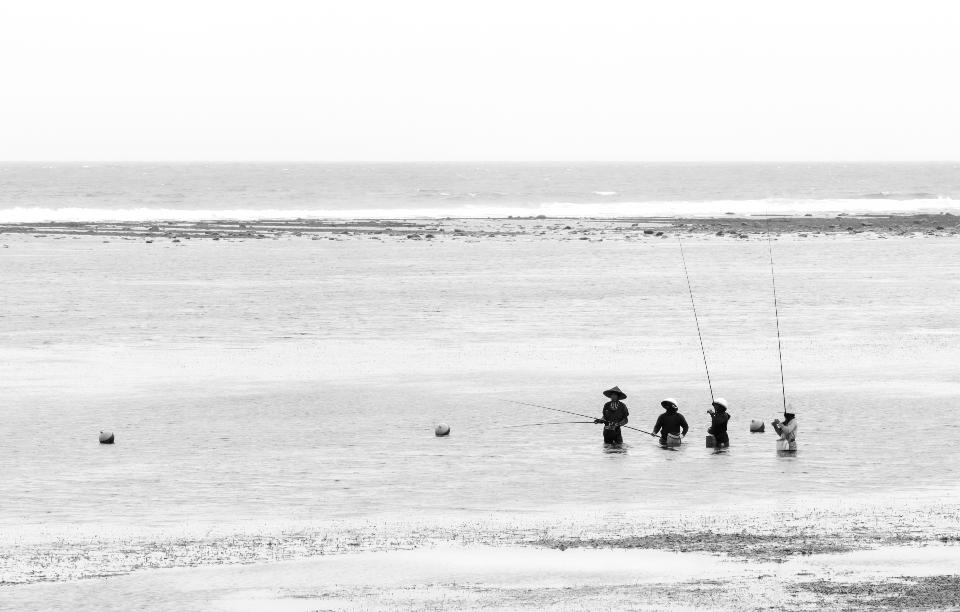 Fishermen on fishing in morning