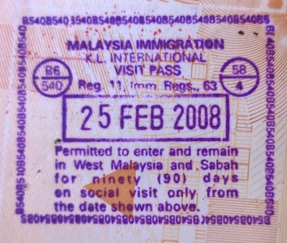 Malaysia visa stamp