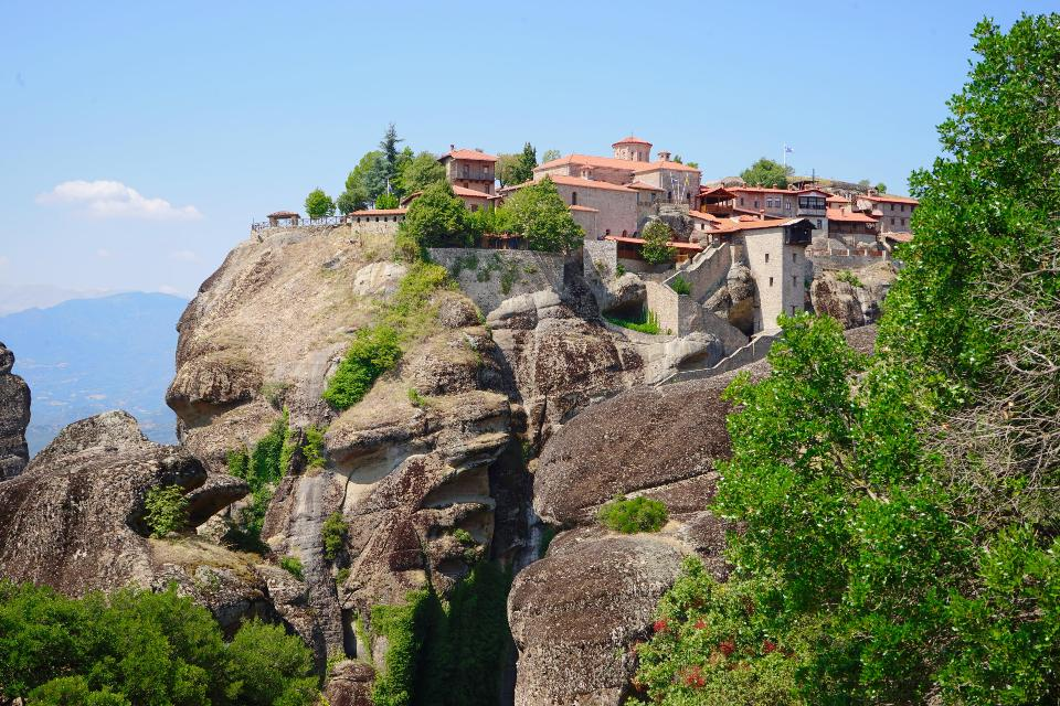 Mysterious hanging over rocks monasteries of Meteora, Greece