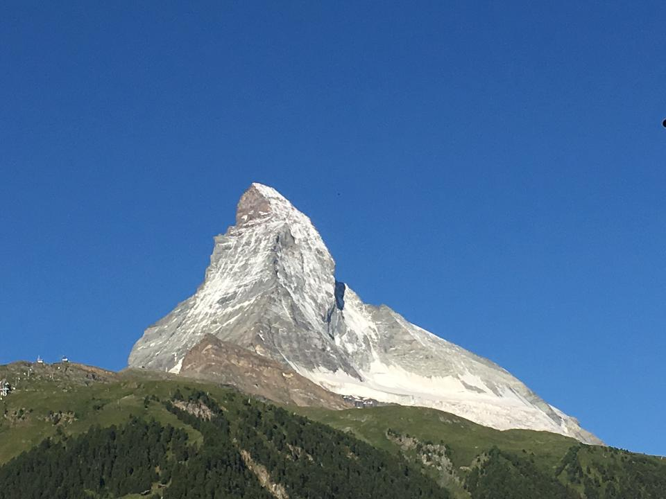 Amazing view of touristic trail near the Matterhorn in the Swiss