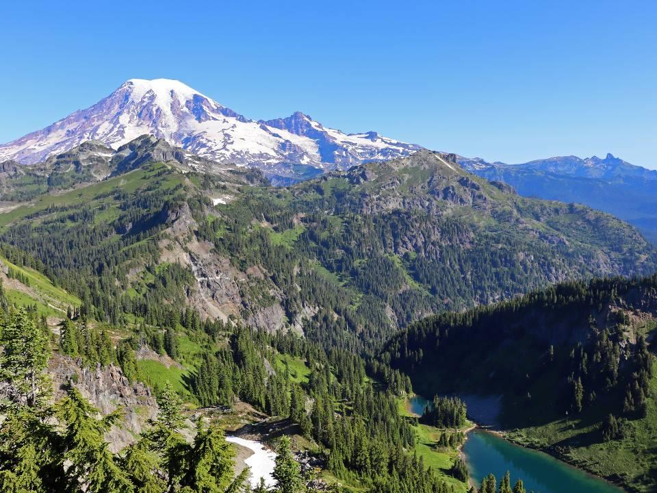 Mount Rainier and Tatoosh Lakes at Tatoosh Wilderness