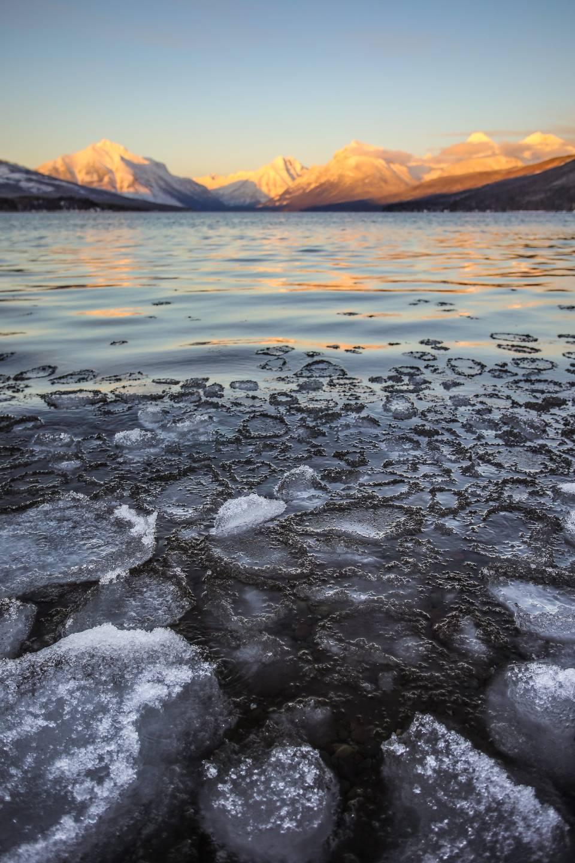 Winter Ice on Lake McDonald