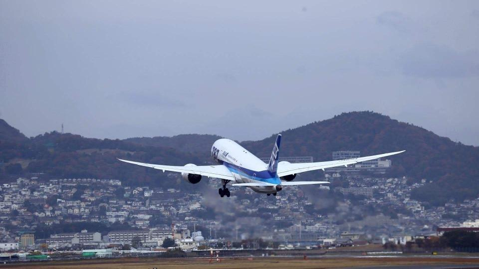 ANA Airplane taking off from the airport