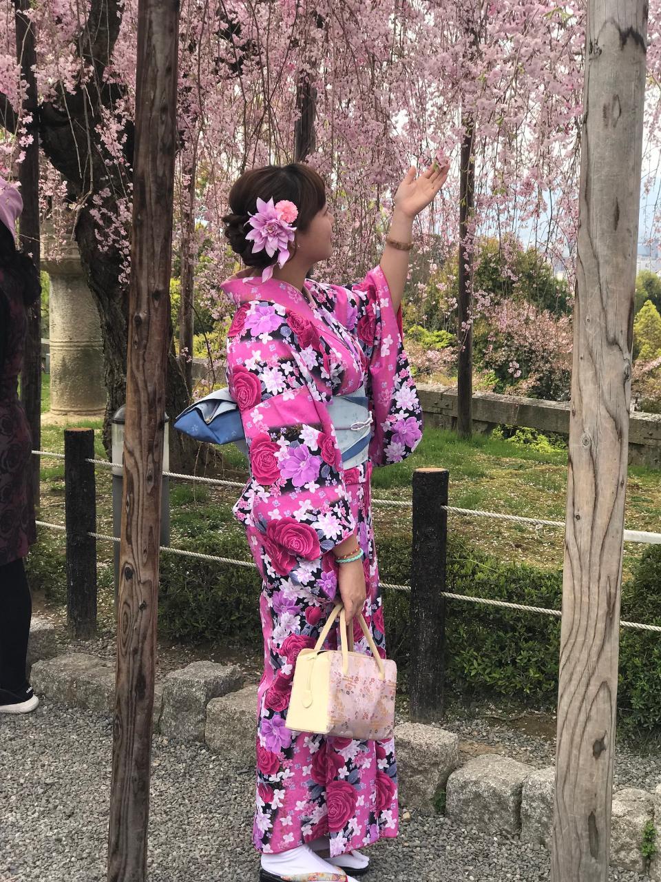 A attractive Japanese woman wearing kimono