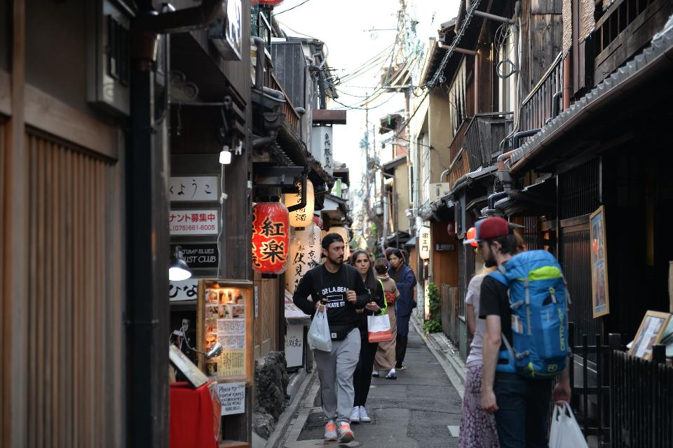 Japanese old town street and traditional house of Kyoto, Japan