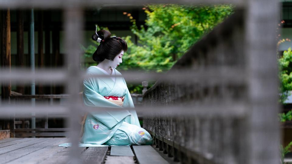Unidentified Maiko girl Geiko lady on parade of hanagasa