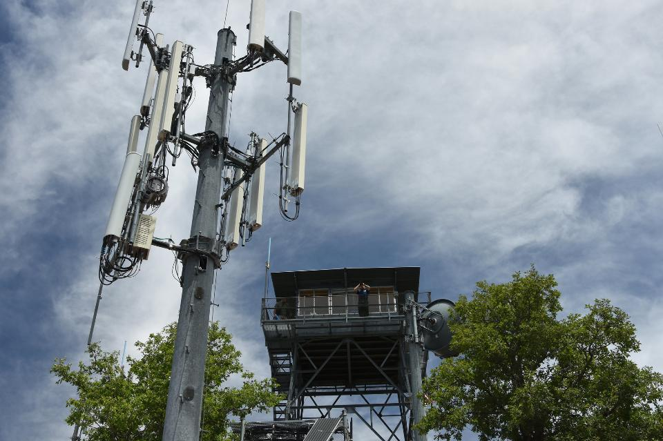 Radio equipment at the base of the lookout