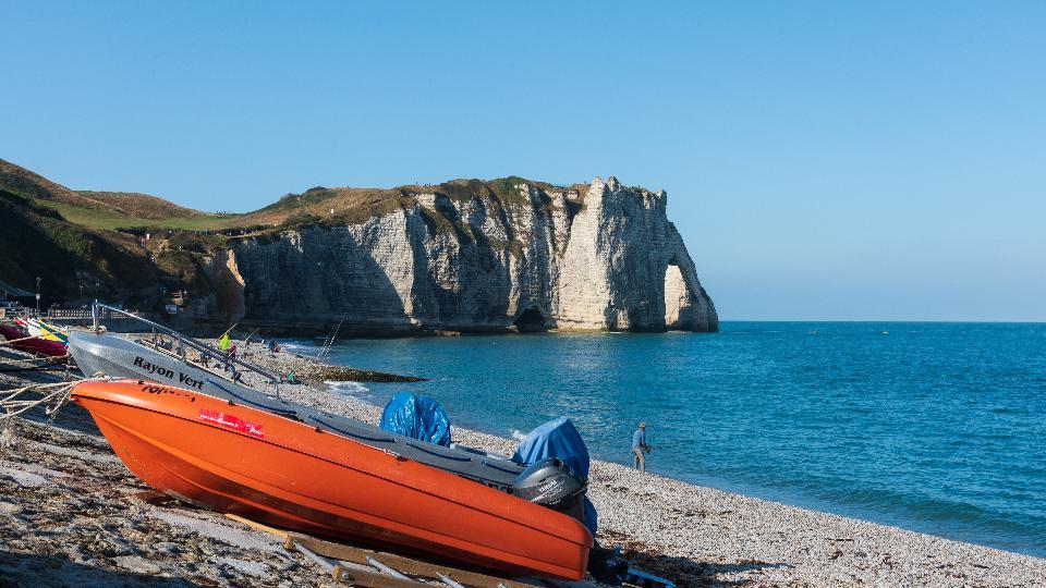 The chalk cliffs of Étretat, France